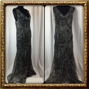 Black and Gray Maxi Gown Size 16, Sleeveless